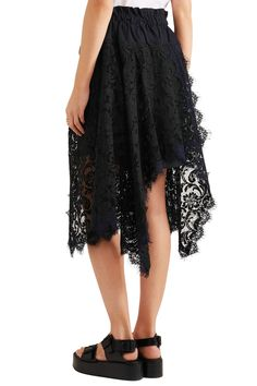 Asymmetric cotton twill-trimmed lace skirt | SACAI | Sale up to 70% off | THE OUTNET