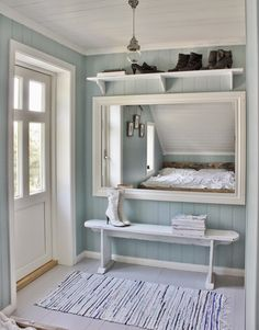 Mias Interiør / New Room Interior / Interiørkonsulent Maria Rasmussen Interior Wall Colors, Room Interior, Interior Design, Wood Paneling Makeover, Scandinavian Cottage, Coastal Bedrooms, Ship Lap Walls, Hallway Decorating, Home Reno
