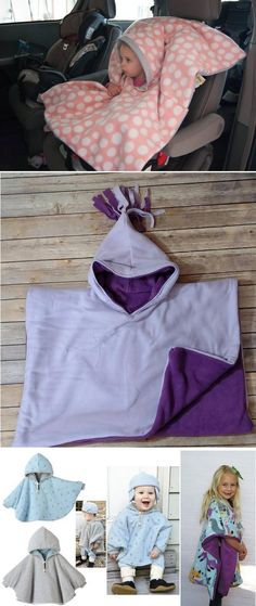 Carseat poncho: keep children warm and safe in winter . - Carseat poncho: keep children warm and safe in winter … - Baby Sewing Projects, Sewing For Kids, Sewing Hacks, Sewing Tutorials, Sewing Crafts, Sewing Ideas, Fleece Projects, Knitting Projects, Sewing Clothes