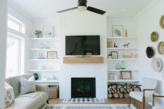 simple living room with tv ideas black small over fireplace design and cabin dining farmhousepact backyard. modern farmhouse living room with grey walls and red brick fireplace – hello lovely… Brick Fireplace Redo, Red Brick Fireplaces, Fireplace Built Ins, Farmhouse Fireplace, Fireplace Remodel, Fireplace Surrounds, Fireplace Design, Fireplace Ideas, Craftsman Fireplace