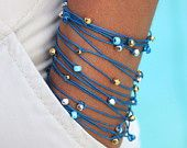 TOHO Boho Wrap Bracelet - Triple Wrap Toho Beaded Cotton Cord Knotted - BLUE - Pick your Wrist SIZE - Metal Accents - Ref 316