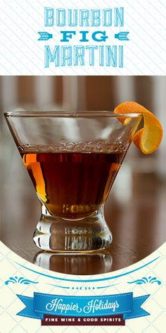 Bourbon Fig Martini: 1½ oz Woodford Reserve Bourbon, ¾ oz Cointreau, ¾ oz brown sugar fig simple syrup*, 1 tsp orange blossom honey, 4 drops dark chocolate bitters, 1 orange peel twist. Combine first 5 ingredients in a shaker w/ ice. Shake & strain into a martini glass, garnish w/ orange peel twist. * Simple Syrup: Combine ½ cup each, brown sugar & water, and 3 fresh figs (chopped) in a saucepan. Boil over medium heat until sugar's dissolved & the figs're soft. Remove from heat, and let…