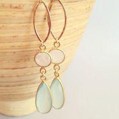 Wedding earrings, chalcedony and moonstone earrings, long dangle earrings, stone earrings, chandelier earrings,  aqua earrings