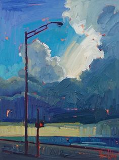 Crosswalk Clouds by Rene Wiley - 16 x 12 inches - Oil on Panel by René Wiley Gallery  ~  x