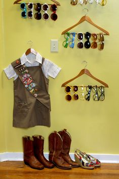 Use clothing hangers to display and organize your glasses. Tips by VisAcuity.com