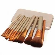 Maquiagem 12pcs Professional Cosmetic Brushes Set Com caixas de metal