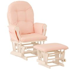 Nursery Glider Chair Baby Rocker Furniture Ottoman Set Pink White Wood Infant | Baby, Nursery Furniture, Rockers, Gliders | eBay!