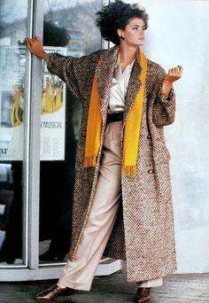 Loose herringbone coat by Paul Costelloe, Vogue UK August 1984