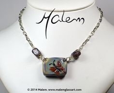 Butterfly Necklace Butterfly Necklace, Glass Jewelry, Glass Art, Creatures, Horses, Sculpture, Bracelets, Artist, Jar Art