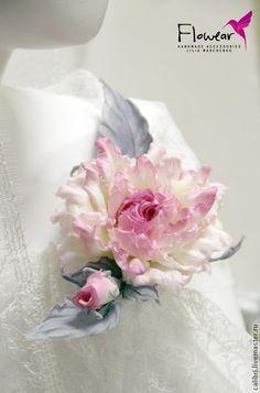 """Купить Цветы из шелка. Роза """"Зима в розовом цвете"""" - заколка брошь. - бледно-розовый"""