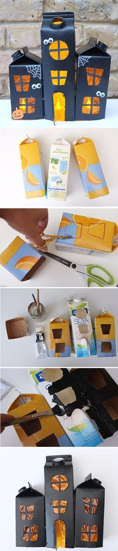 Upcycle your milk and juice cartons to build this fun and spooky haunted house for Halloween! A perfect craft for kids. Upcycle your milk and juice cartons to build this fun and spooky haunted house for Halloween! A perfect craft for kids. Theme Halloween, Halloween Crafts For Kids, Halloween Projects, Diy Halloween Decorations, Holidays Halloween, Crafts To Do, Kids Crafts, Happy Halloween, Scary Halloween