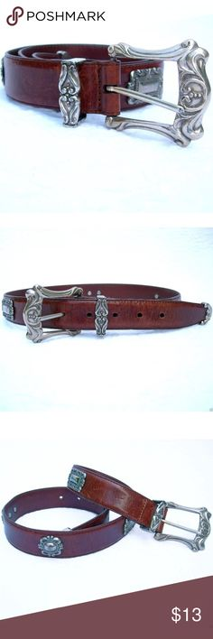 """FOSSIL Brown Leather & Silver Concho Western Belt Genuine leather western ladies belt Beautiful medallion designs with scroll pattern buckle  Measurements: Ladies' Size S (Small) Length (full strap length, end to end, no buckle):  31.5"""" Length (end of strap near buckle to middle hole):  26.5"""" Length (between first and last holes):  4"""" Width:  1.25"""" Buckle:  2.25"""" x 2.5""""  Condition: Pre-owned, GREAT gently used condition. Free of stains and damages. Buckle & hardware shows typical signs of…"""