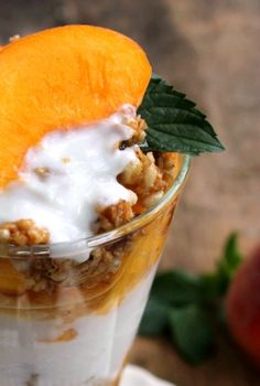 Fresh Peach Granola and Yogurt Parfait is great for breakfast, an afternoon snack or a light dessert. Wholesome goodness with yogurt, fiber and fruit.