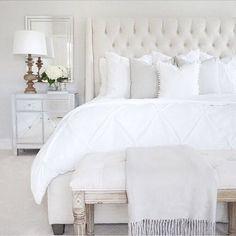 Bedroom inspo tufted linen bed & bench classic gray Benjamin Moore mirrored nightstand wood lamp target
