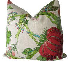 Decorative Designer Botanical Chinoiserie Jacobean Floral Pillow Cover, Green, Pink, Turquoise, 18x18, 20x20, 22x22 or Lumbar, Throw Pillow