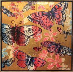 "DAVID BROMLEY ""Butterflies"" Acrylic & Gold Leaf on Canvas, Image Size: 122cm x 122cm, Frame Size: 125cm x 125cm (Diptych)"