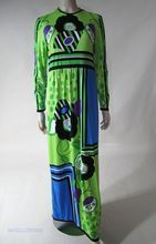 1970s Paganne Printed Jersey Maxi Dress Size 14 at rubylane.com