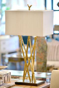 Brass Faux Bamboo Lamp - Mecox Gardens