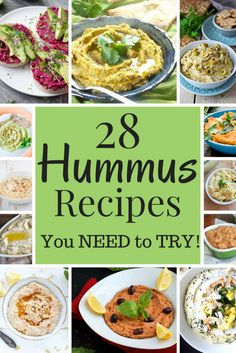 28 Hummus Recipes You NEED to TRY! - This hummus round up makes sure you never have to make the same hummus recipe over and over again :)  #Vegan #Glutenfree #dip