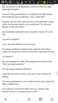 33. Knot Your Typical High School AU by ktwinchesterhale ( dean/ castiel) .. erm i can't find a rec page decent enough for this fic. :P well, it's slightly dirty but not too much for A/B/O verse. but i like this Cas. so. plus this crossed all warning tags. knotting- claiming- rough sex- rape/non-con - angst- hurt/comfort - mpreg . so. if you're bored, frustrated, or generally in an s&m mode, read this. :)