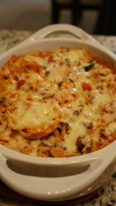 Baked Spaghetti...use spaghetti squash! Yum!!