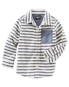 Chambray Pocket Striped Button-Front Oxford