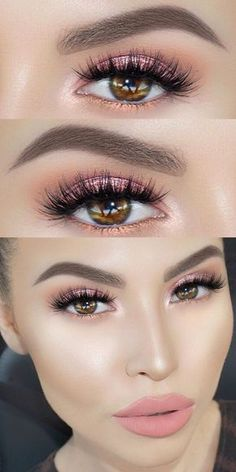 Beauty Makeup Hacks Ideas Wedding Makeup Looks for Women Makeup Tips Prom Makeup ideas. Glitter Eye Makeup, Prom Makeup, Hair Makeup, Pageant Makeup, Pink Eyeshadow, Angel Makeup, Makeup Eyeshadow, Eyelashes Makeup, Eyeshadow Palette