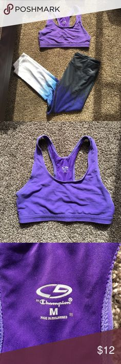 Athletic Bundle This bundle has a pair of 3/4 length athletic pants with a cool design going up the legs, and a purple colored sports bra from Champion. Both items are a medium but the fits like a M/L. Both have been worn a few times but have no damages me are still in good condition. Champion Pants Track Pants & Joggers