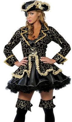 Sexy Women Black Plus Size Pirate Costume Halloween Fancy Dress Outfit M L XL #Unbranded #TopShirt