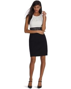 White House | Black Market Sleeveless Colorblock Lace Waist Sheath Dress #whbm
