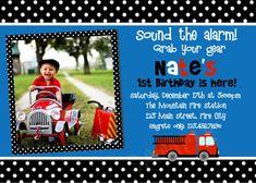 1st birthday boy firetruck party | Printable Birthday Invitations, Little Boys Party Invites