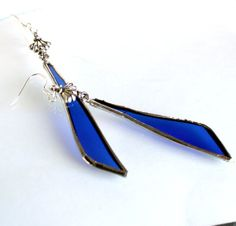 Recycled Long Cobalt Blue Glass Earrings OOAK  Stained by LAGlass, $19.00