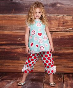 Another great find on #zulily! Blue & Red 'Love' Addelyn Tunic & Pants - Infant & Girls by Jelly the Pug #zulilyfinds