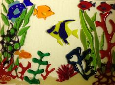 Tropical fused glass fish tank I made for my fish window hanging class. By Jennifer Frangi