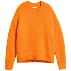 Wool-blend Sweater $69.99 ($70) ❤ liked on Polyvore featuring tops, sweaters, orange top, chunky knit jumper, chunky knit sweater, low top and orange sweater