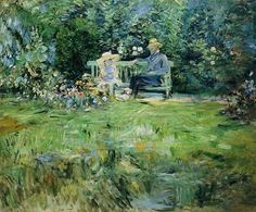 The Lesson in the Garden, 1886 by Berthe Morisot. Impressionism. genre painting. Private Collection