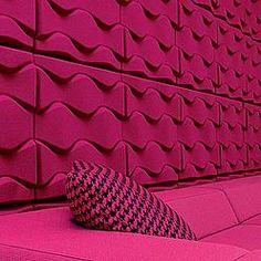 Soundwave® Flo, Acoustical sound panel was designed by Karim Rashid. Find lots of soundproofing acoustic panels at the Swedish furniture design company Offecct! Karim Rashid, Acoustic Wall, Acoustic Panels, Acoustic Design, Sound Absorbing, Cinema Room, Sound Proofing, Sound Waves, Fibre