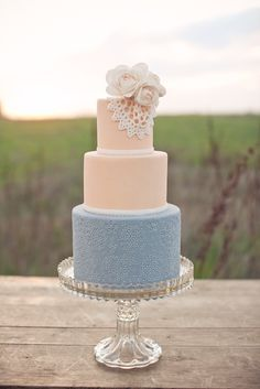 Such a pretty lace inspired cake!  the peach and light blue are light and airy