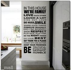 HOUSE RULE WALL QUOTE DECAL for your home or business,apply area H:110cm, W:55cm