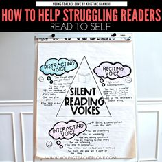 Help your struggling readers understand their silent reading voice. The lack of an interacting silent reading voice is a big reason why readers struggle. Reading Groups, Guided Reading, Teaching Reading, Reading Comprehension, Reading Time, Teaching Ideas, Reading Resources, Reading Strategies, School Resources