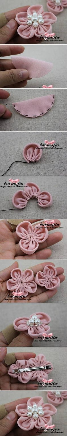 Cute and easy DIY fabric flower pins! Would make great hair clips! You could also glue to a headband. Tissu Style Shabby Chic, Tela Shabby Chic, Shabby Chic Stoff, Shabby Chic Fabric, Shabby Fabrics, Felt Crafts, Fabric Crafts, Sewing Crafts, Sewing Projects