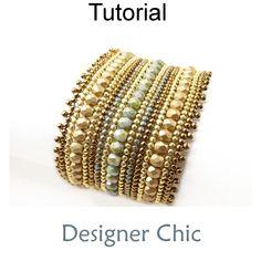 Designer Chic Beaded Herringbone Stitch Bracelet Beading Pattern Tutorial PDF | Simple Bead Patterns
