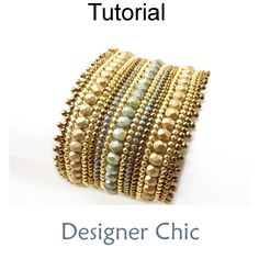Designer Chic Beaded Herringbone Stitch Bracelet Beading Pattern Tutorial PDF   Simple Bead Patterns