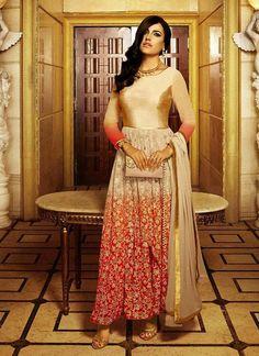 Beige Georgette A Line Style Salwar Kameez ,Indian Dresses