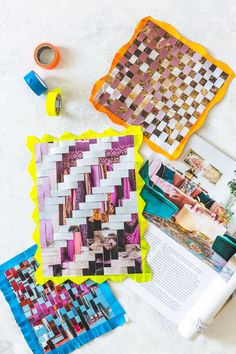 Paper Weaving from Craft the Rainbow book Diy Paper, Paper Art, Paper Crafts, Diy Crafts, Recycled Magazines, Recycled Art, Recycled Jewelry, Recycled Materials, Weaving For Kids