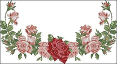 This Pin was discovered by Ecr Cross Stitch Borders, Cross Stitch Rose, Cross Stitching, Cross Stitch Patterns, Embroidery Patterns, Hand Embroidery, Rico Design, Embroidered Clothes, Bargello