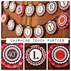 40th Birthday Party Banner.  Red and Black, fully assembled and customizable.  Birthday Decoration. by CharmingTouchParties on Etsy
