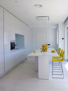 White kitchen with yellow...perfect combination