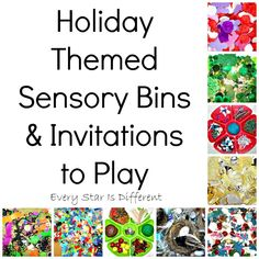 Holiday themed sensory bins and invitations to play for kids.