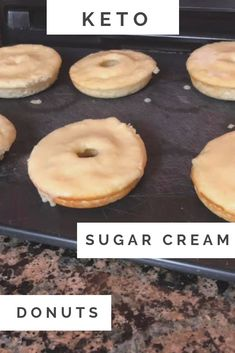 Keto Donuts - Sugar Cookie Flavor A delicious spin on the Krispy Creme style donut, this keto dessert recipe includes a donut glaze that brings about a sugar cookie flavor. Cookie Flavors, Easy Cookie Recipes, Donut Recipes, Real Food Recipes, Snack Recipes, Dessert Recipes, Dessert Food, Paleo Dessert, Keto Cookies